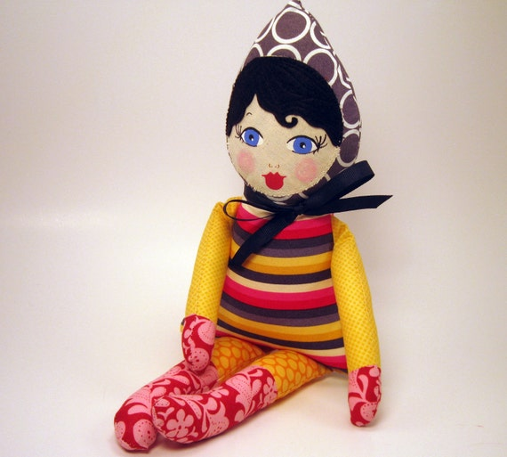 CYBER MONDAY SALE cloth rag doll with bright colored clothes black hair