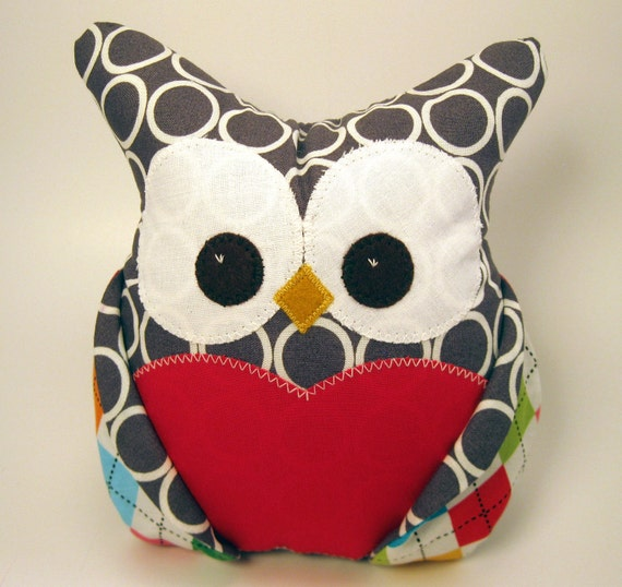 Funky plush owl colorful bright designer fabrics READY TO SHIP