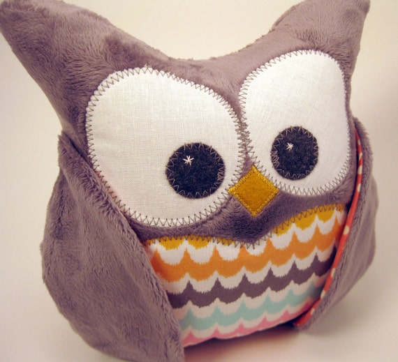 Plush Owl Pillow - Grey Minky