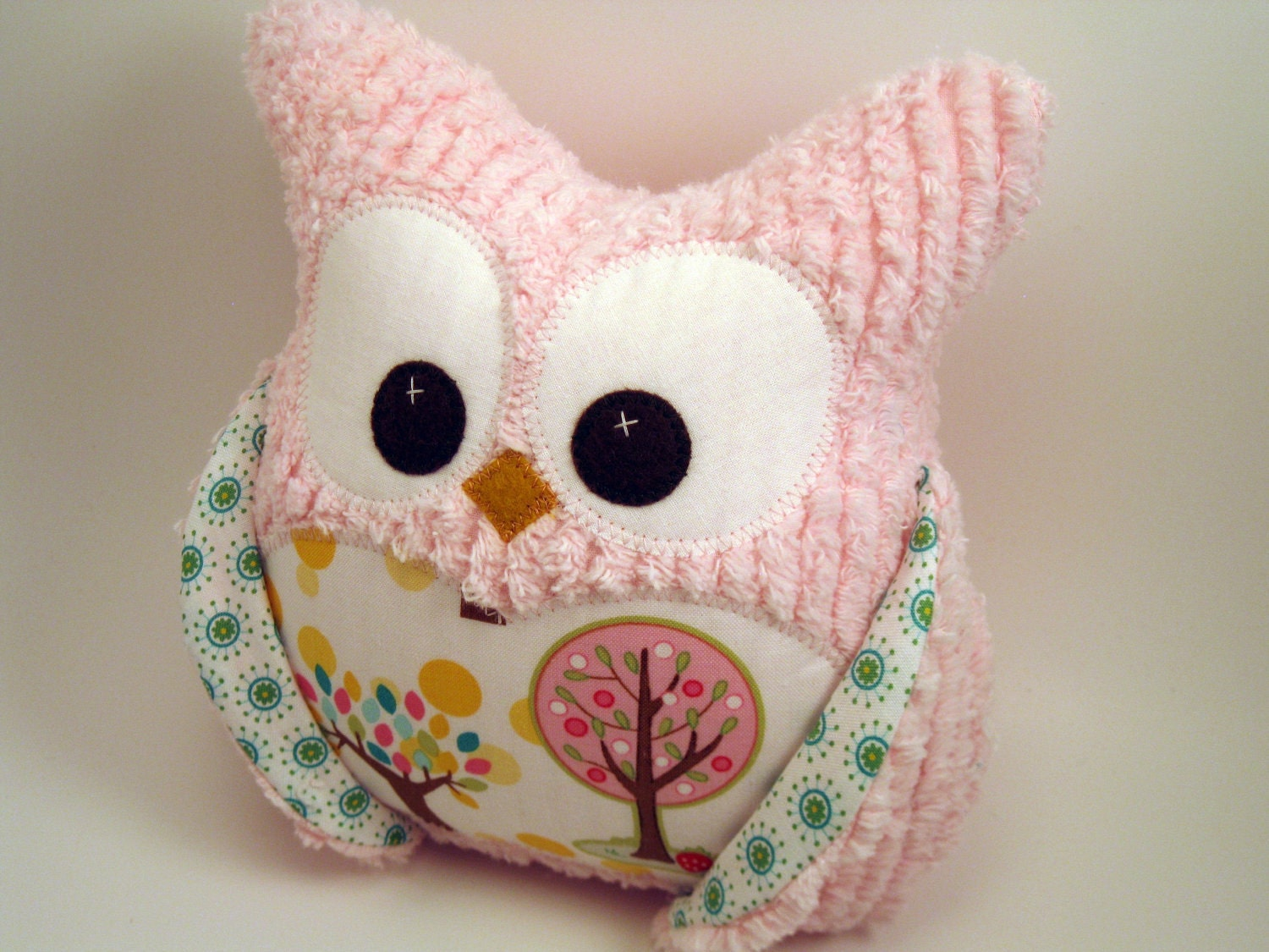 How To Make Cute Owl Pillows : Plush Owl Pillow Pink chenille tree fabric