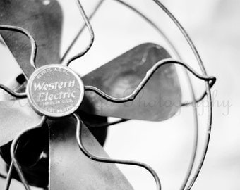 Keeping Cool - 16x20 Fine Art Still Life Photography Print - Black & White Vintage Fan Home Decor Photo