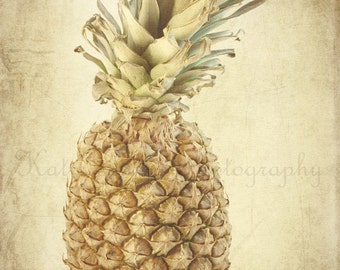 Vintage Pineapple - 8x10 Fine Art Food Photography Print - home decor fruit photo for entry way, foyer, or guest room
