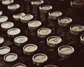 Typewriter Keys - 16x20 Fine Art Photography Print - vintage style old fashioned dark typewriter with round keys