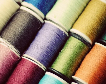Color My World with a Rainbow of Thread - 11x14 Fine Art Photography Print - Textural Sewing Still Life Home Decor Photo