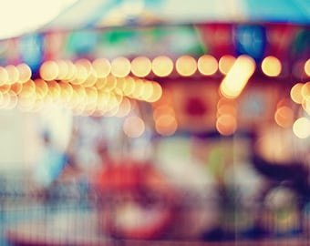 Carousel Dreaming - 20x30 Fine Art Carnival Photography Print - Out of Focus with Yellow Red Blue & Green - Home Decor Gift for Him or Her