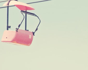 Pink Chairlift at the Fair - 11x14 Fine Art Carnival Photography Print - Minimalist Ride Chair Sky Negative Space Home Decor Photo