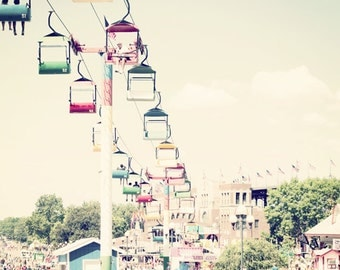 Looking Out from the Skylift: A Day at the Iowa State Fair - 20x30 Fine Art Carnival Photography Print - Retro Style Home Decor Photo
