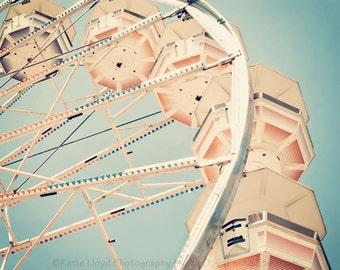 Ferris Wheel Art - Fine Art Carnival Photography Print - Retro Inspired Midway Home Decor Photo in Smokey Blue and Burnt Orange