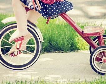 An American Girl - 11x14 Fine Art Americana Photography Print - Red White Blue Tricycle Nursery Little Girl's Bedroom Decor Photo
