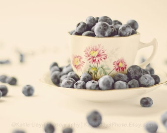 Vintage Style Blueberry Wall Art - 11x14 Fine Art Food Photography Print - Berries and China Tea Cup Still Life Kitchen Home Decor Photo