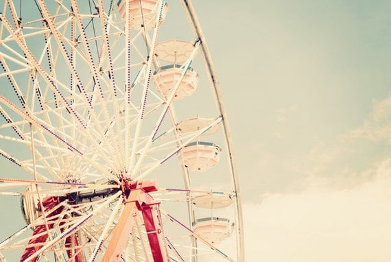 Ferris Wheel in the Sky - 20x30 Fine Art Carnival Photography Print - Large Scale Summertime Retro Inspired Home Decor Photo