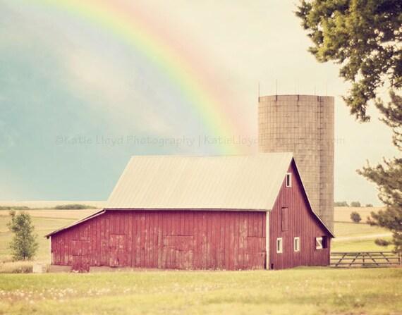 Somewhere Over the Rainbow - 11x14 Fine Art Country Photography Print - Wizard of Oz Inspired Kansas Farm Home Decor Photo