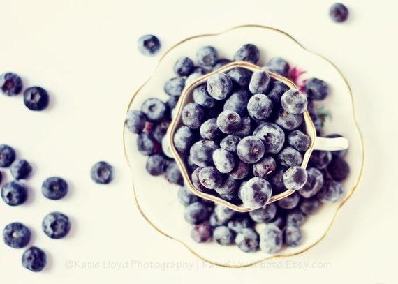 The Blueberry Tea Cup - 5x7 Fine Art Food Photography Print - Fresh Ripe Berries Still Life Kitchen Home Decor Photo
