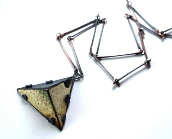 Pyramid Enamel Necklace, Modern Jewelry, Geometric, Mod, Wearable Art, Sterling and Enamel Necklace