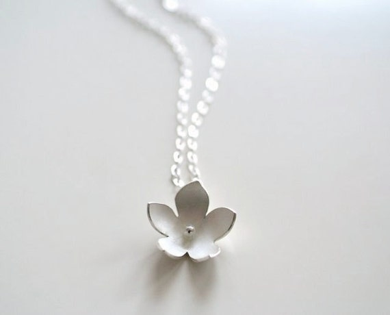 Silver Bell Flower Necklace, Flower Pendant, Wearable Art, Gift For Her, Bridal Jewelry, Bridesmaids, Woodland