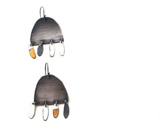 Gaia Sterling Silver Earrings, Modern Tribal Adornment, Wearable Art Jewelry
