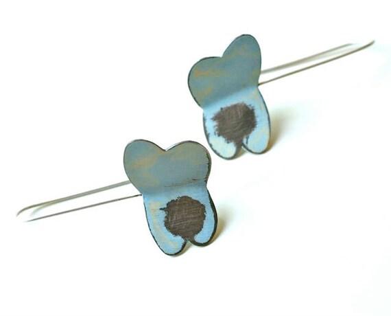 Blue Moth Sterling Silver Earrings, Modern Woodland, Wearable Art Jewelry, Handpainted Sterling Silver Earrings