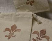 Three Natural Cotton Muslin Gift Bags  'Fleur De Lis'     (5 x 6 size)