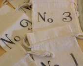French Inspired Numbered Cotton Muslin Drawstring Gift Bags  (Set Of Three)