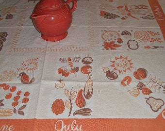 Vintage Tablecloth Fabulous Months of the Year Mad Men