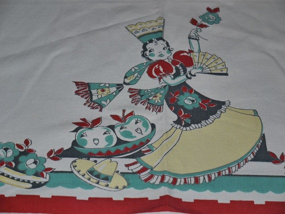 ViNTaGe TOwEl BRoDeRiE 40s Cute Graphics Lady of Spain I adore You
