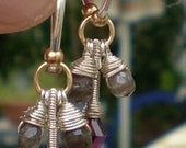 In the Middle-Tourmaline and Sillimanite Sterling Silver Charm Hoop Earrings