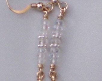 Bridal Party - White Topaz and Moss Aquamarine Earrings