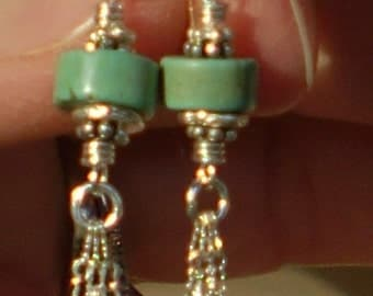 A Long Walk - Turquoise and Silver Tassle Earrings