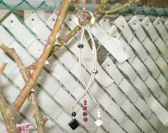 Three Wishes-Handcrafted Artisan Onyx Moonstone and Garnet  Mobile