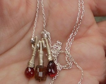 The Third Times a Charm-Sterling Silver Trio Pendant Necklace