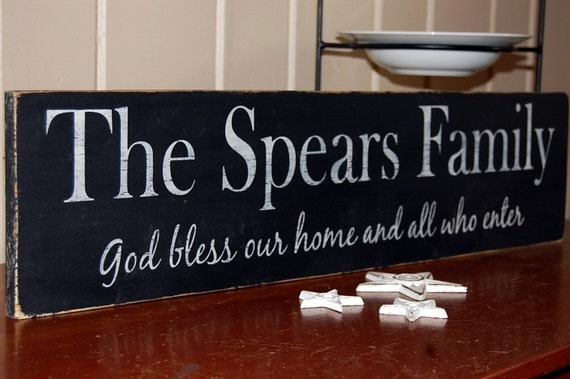 """28"""" Custom Family Name Sign God bless our home and all who enter Distressed Wood Sign"""