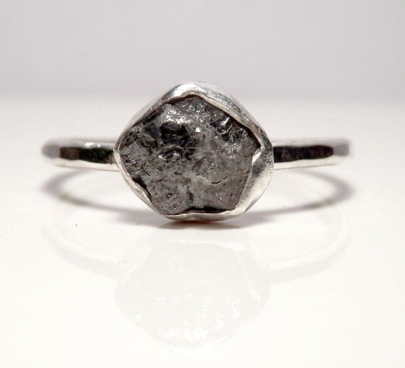 Sterling silver and mixed grey rough diamond ring