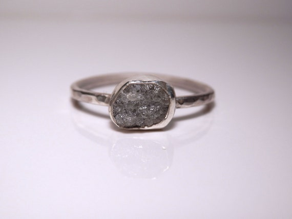 Sterling silver and stormy grey conflict free rough diamond ring