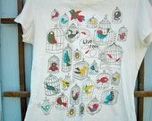 "Gently Used ""Live Free"" Caged Bird T Shirt- Size Large"