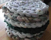 Six Round Rag Trivets Upcycled Recycled Fabrics