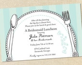 Sweet Wishes Bridal Place Setting Brunch Luncheon Invitations - PRINTED - Digital File Also Available