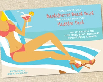 Sweet Wishes Bachelorette Beach Bash Bridal Shower Invitations - PRINTED - Digital File Also Available