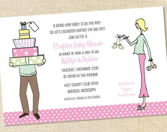 Sweet Wishes Mom and Dad Couples Baby Shower Invitations - PRINTED - Digital File Also Available