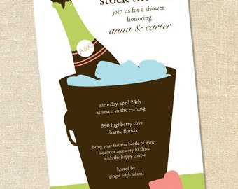 Sweet Wishes Stock the Bar Champagne Bucket Invitations - PRINTED - Digital File Also Available