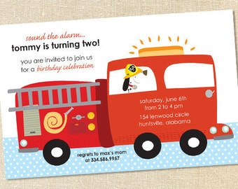 Sweet Wishes Firetruck & Dalmation Birthday Party Invitations - PRINTED - Digital File Also Available