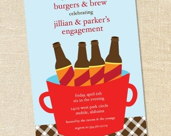 "Sweet Wishes ""Beer in a Bucket"" Party Invitations - PRINTED - Digital File Also Available"