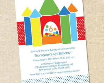Sweet Wishes Birthday Bounce House Inflatable Party Invitations - PRINTED - Digital File Also Available