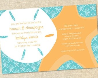 Sweet Wishes Sand Dollar and Starfish Beach Party Invitations - PRINTED - Digital File Also Available
