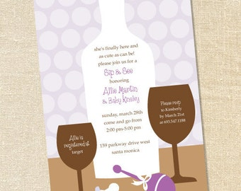 Sweet Wishes' Purple Polka Dot Sip and See Invitations - PRINTED - Digital File Also Available