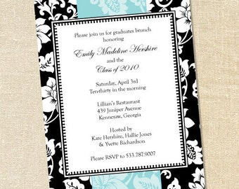 Sweet Wishes Modern Floral Shower Invitations with Blue Accent - PRINTED - Digital File Also Available