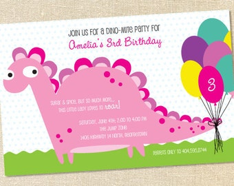 Sweet Wishes Girls Pink Dinosaur Birthday Invitations - PRINTED - Digital File Also Available