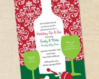 Sweet Wishes Christmas Holiday Sip & See Baby Shower Invitations - PRINTED - Digital File Also Available