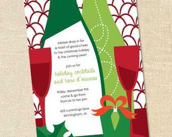 Sweet Wishes Holiday Wine Tasting Cocktail Party Invitations - PRINTED - Digital File Also Available