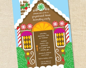 Sweet Wishes Gingerbread House Decorating Party Invitations - PRINTED - Digital File Also Available