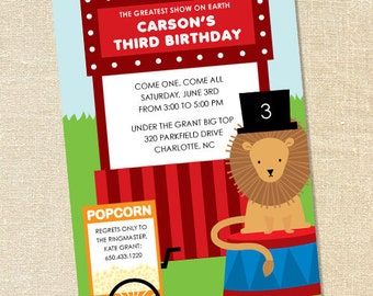 Sweet Wishes Circus Lion Birthday Party or Baby Shower Invitations - PRINTED - Digital File Also Available
